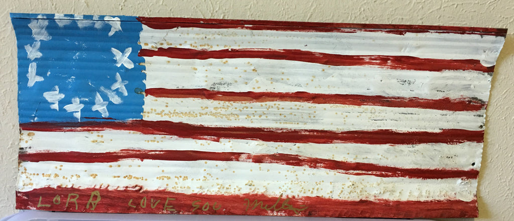 "R. A. Miller Painting ""Colonial Flag"" Medium #1 Metal - Traditional Art Limited"