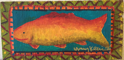 "Mary Klein Painting ""Fish"" Wood - Traditional Art Limited"