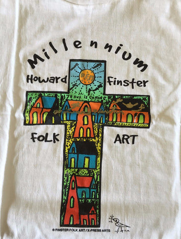 "Howard Finster ""Millennium Folk Art With Cross"" T-shirt - Traditional Art Limited"
