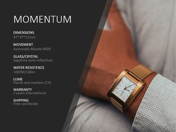 MOMENTUM - Brushed Gold, White Dial