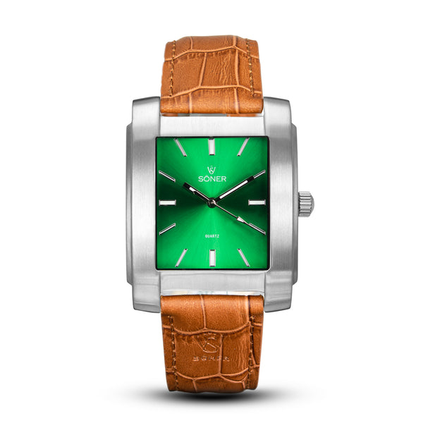 SQUARE MEN'S WATCH - LEGACY K Brushed steel - Green dial