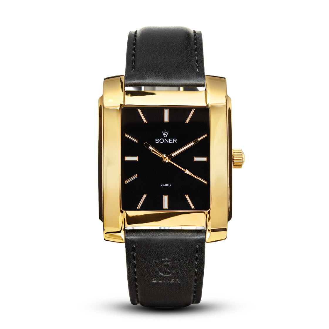 SQUARE MEN'S WATCH - LEGACY O Polished gold - Black dial