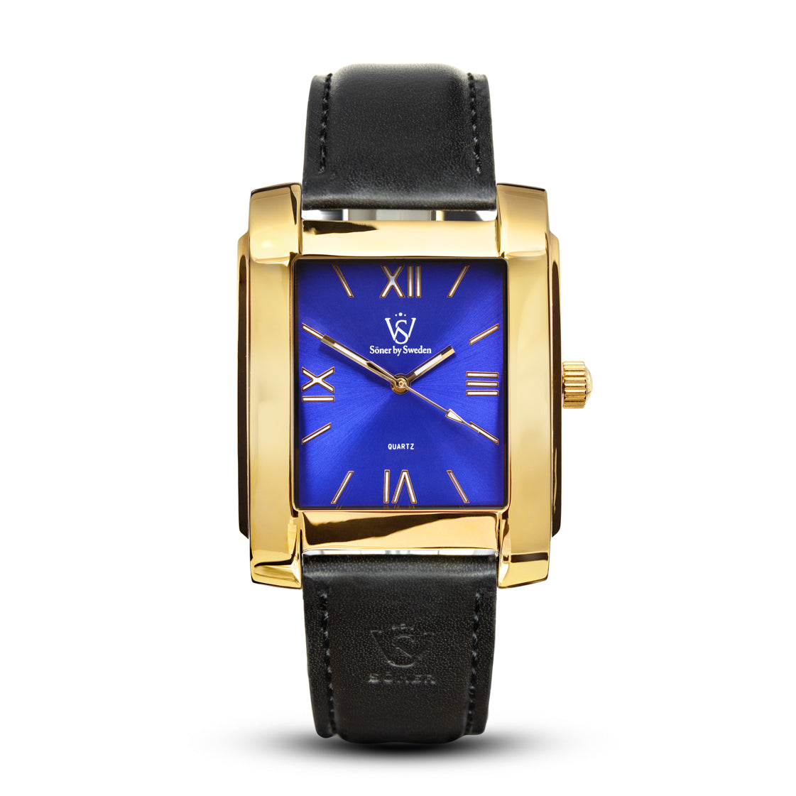 SQUARE MEN'S WATCH - LEGACY B Polished gold - Blue dial