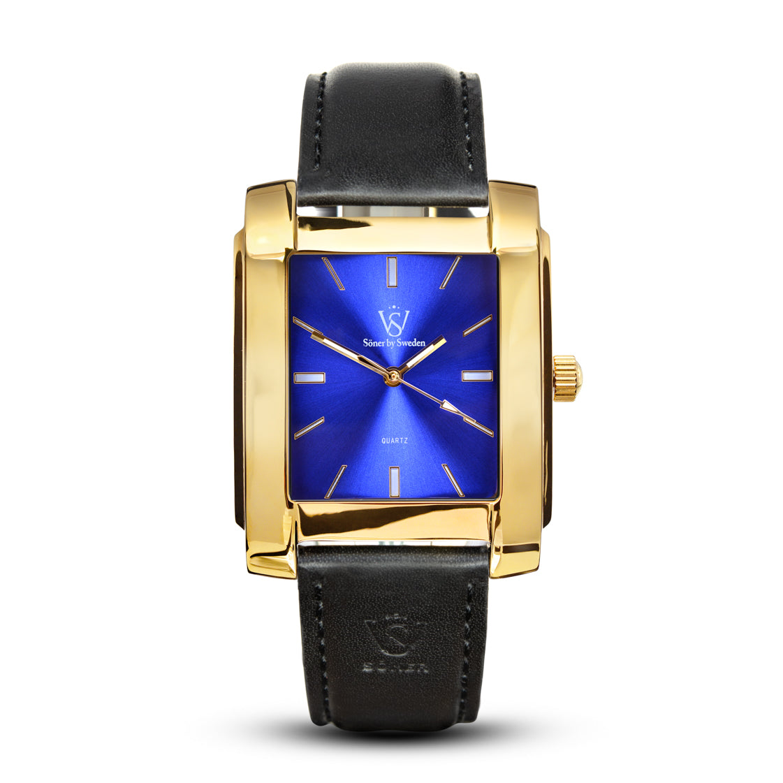 SQUARE MEN'S WATCH - LEGACY D Polished gold - Blue dial