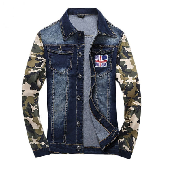 Denim Jacket Camo Sleeves