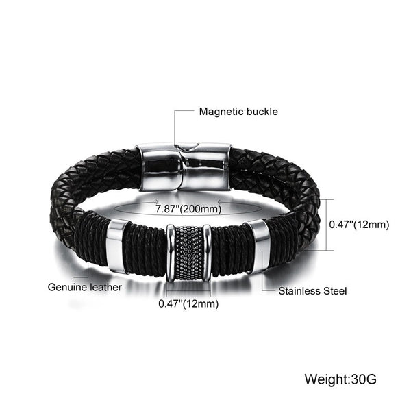 Leather / Steel Men's Bracelet #4