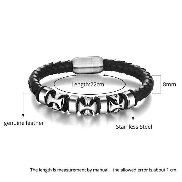 Leather / Steel Men's Bracelet #6