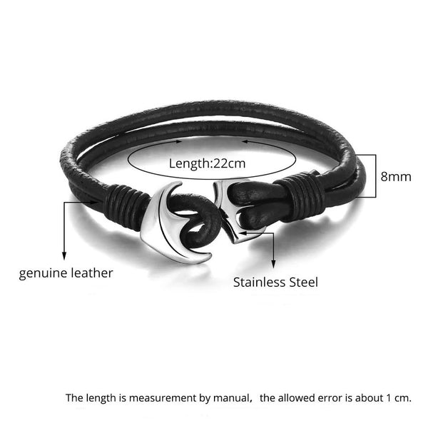 Leather / Steel Men's Bracelet #5