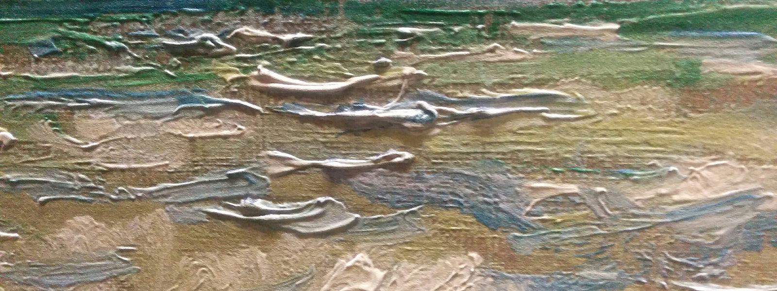 A Stormy Sea, by Monet Painting Close Up