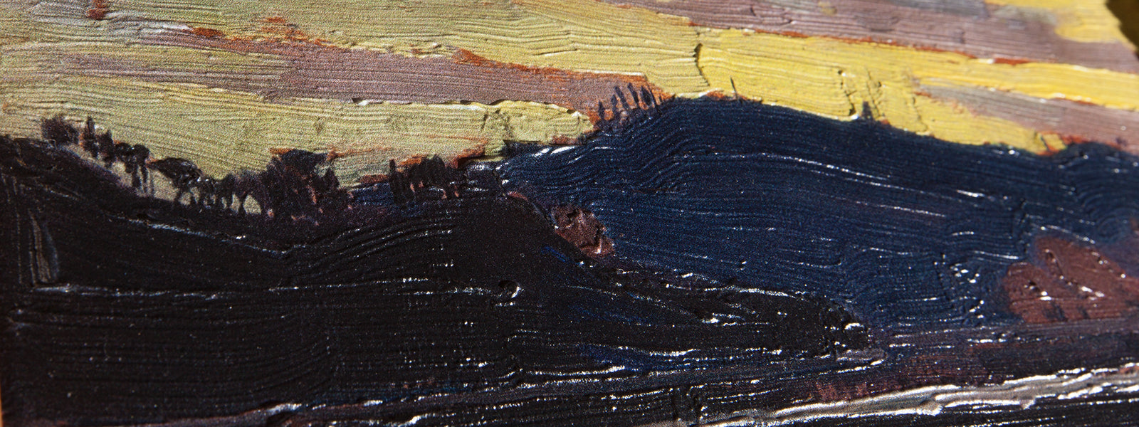 Yellow Sunset by Tom Thomson Painting Close Up