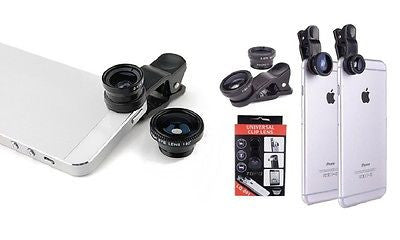 Universal 3 in 1 Clip Fish Eye Lens Mobile Phone For iPhone 5 6 6 Samsung All