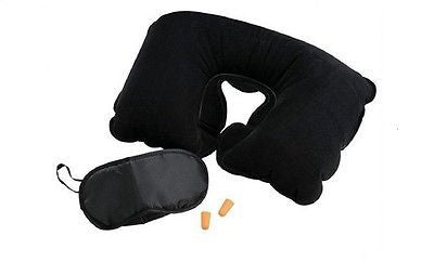 Neck Support Travel Pillow And Eye Sleep Mask Set with Ear Plugs