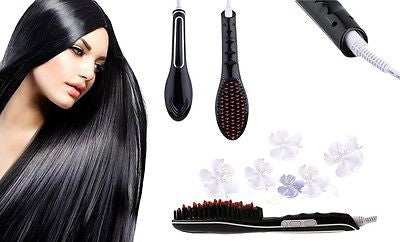 2015 Professional Electric LCD Fast Brush Black Hair Straightener Comb Flat Iron