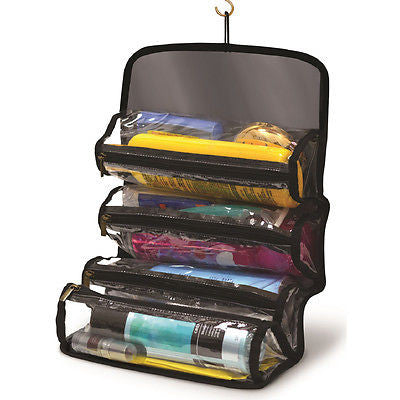 Roll-Up Cosmetic Caddy Makeup Jewelry Storage Bag Travel Organizer