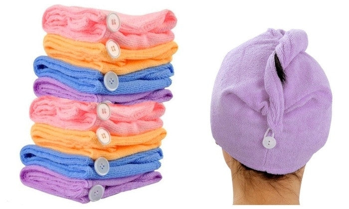 Quality Quick-Dry Microfiber Towel Hair Wraps (4 pack)