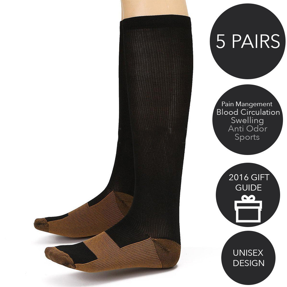 5-pack Copper Infused Compression Therapy Socks - Anti Odor, Pain Reducing, Flight, Circulation Socks