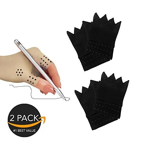 New Health Fingerless Mild Compression Unisex Magnetic Arthritis Gloves for Pain Relief (2 pack) (Black)