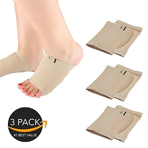 3-Pair Gel Plantar Fasciitis Pain Relief Arch Sleeves for Foot and Heel Pain Sock (Nude)