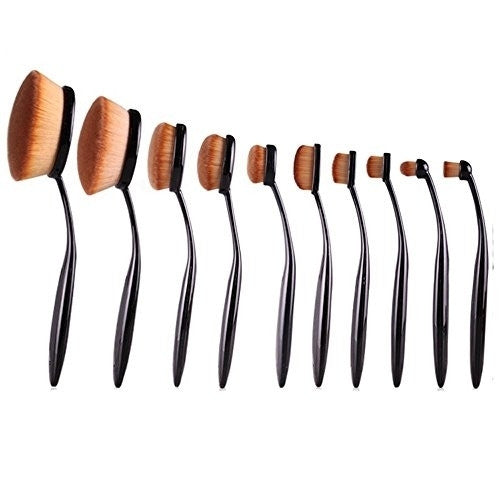 10-Pcs  Hollywood Collection Ultra Soft Oval Foundation Concealer Powder Makeup Brush Set