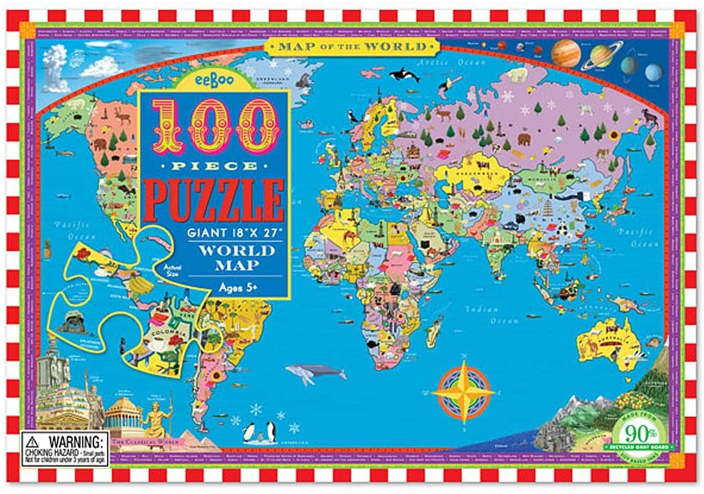 Eeboo - 100 Piece World Map Puzzle