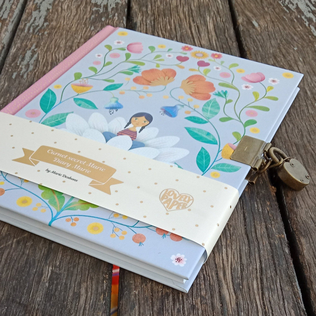 Djeco Lovely Paper Marie Secret Notebook | Lockable Diary
