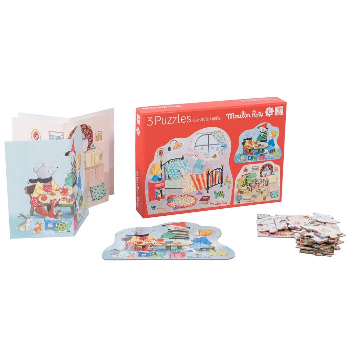 Moulin Roty La Grande Famille - Set of 3 twelve piece puzzles