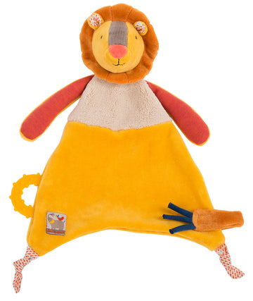 Les Papoum lion comforter with teething ring – Moulin Roty
