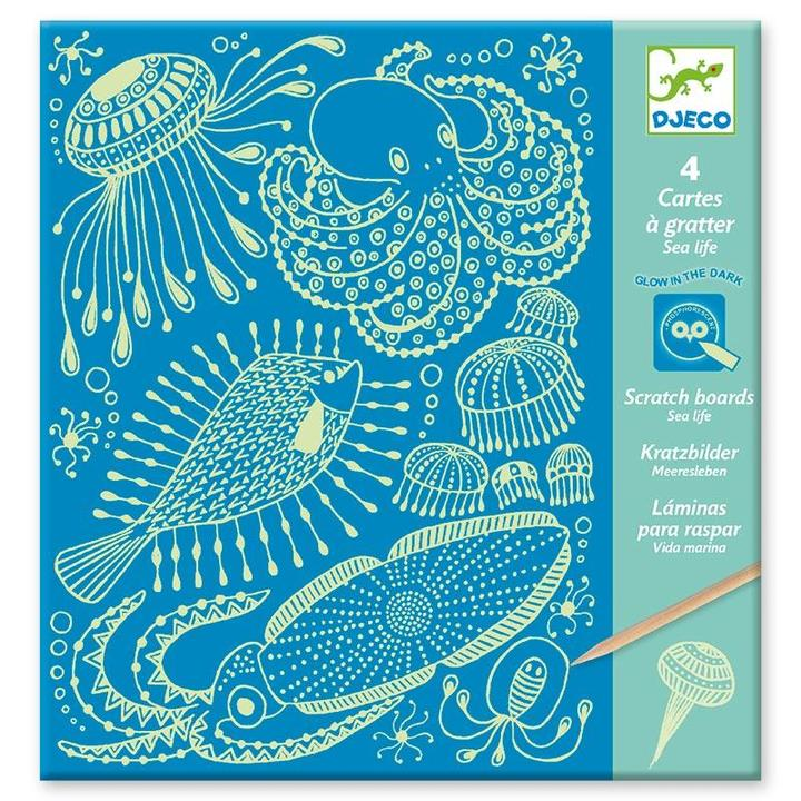 Glow In the Dark Scratch Cards - Sea Life