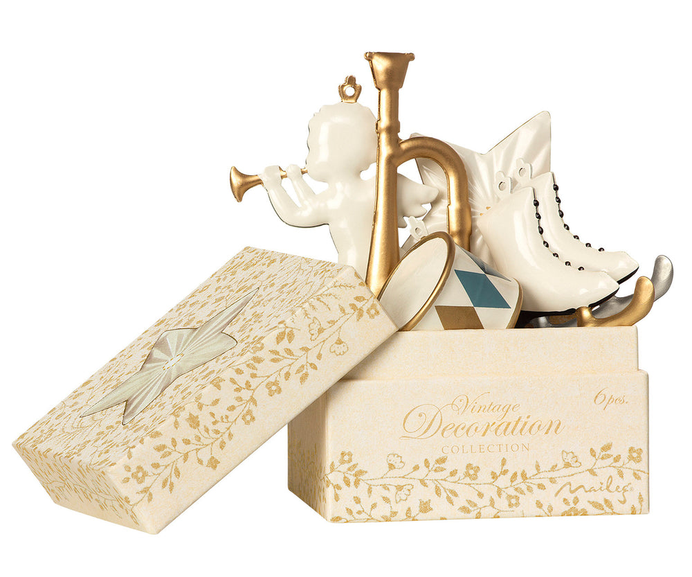 Maileg 6 ornaments in a box - White/ Gold
