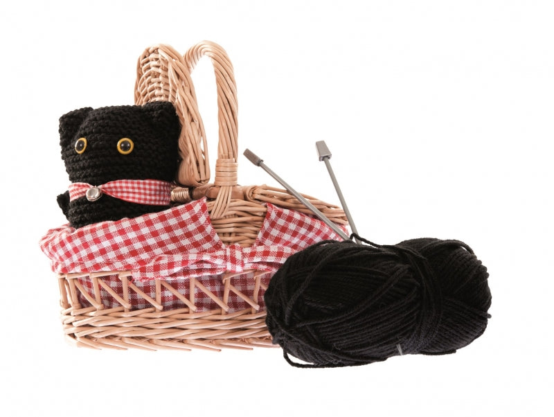Knitting Cat in Wicker Basket