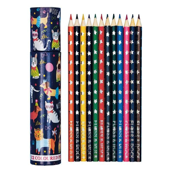 COLOURED PENCILS PACK 12 IN TUBE PETS