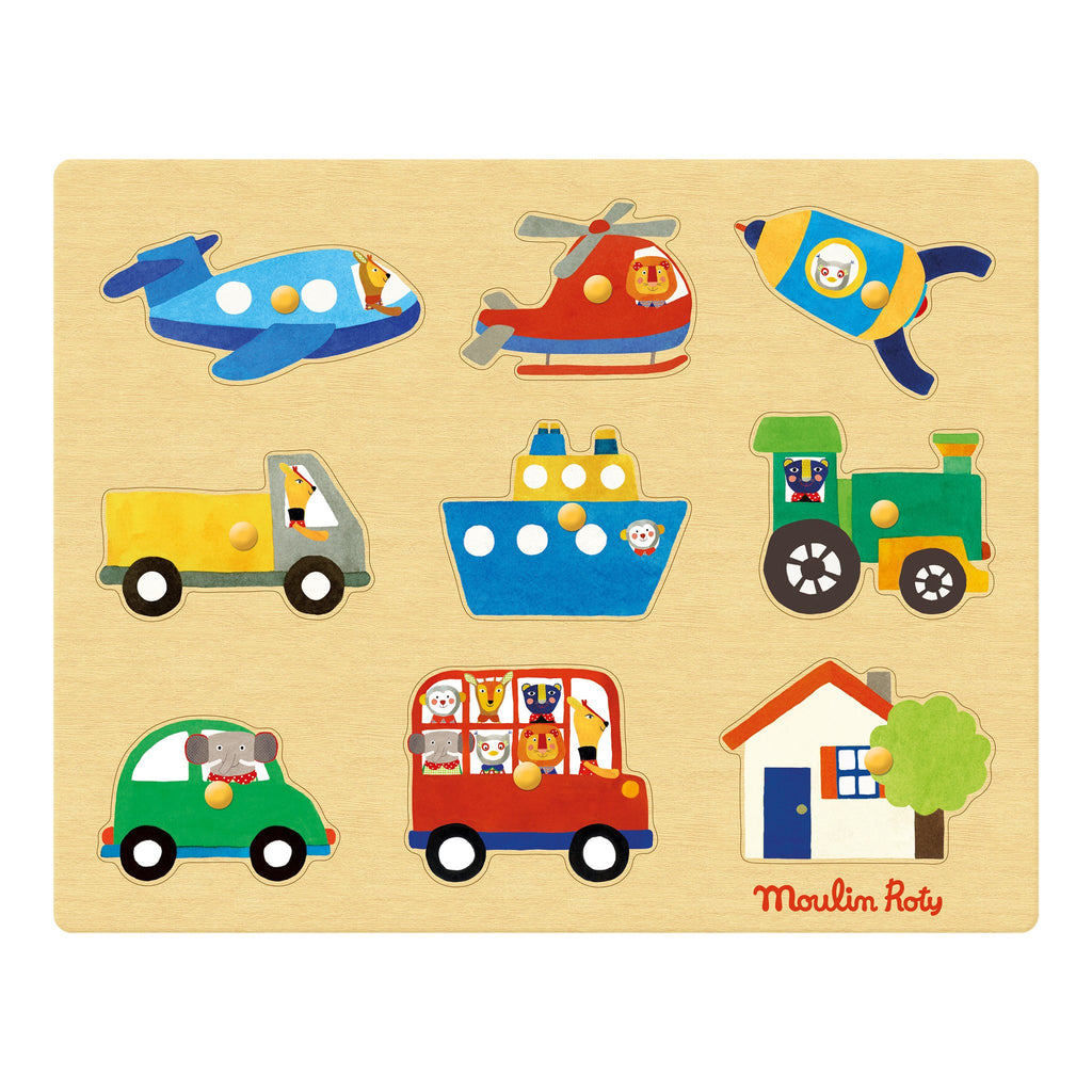 Moulin Roty Les Popipops Transport Puzzle