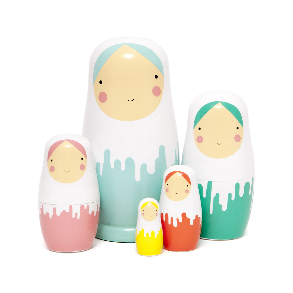 Pastel Painted Nesting Dolls