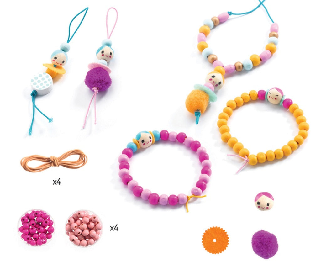 Djeco Oh! Les Perles! Wooden Beads & Figurines