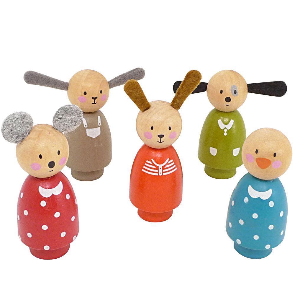 Moulin Roty 5 Assorted Wooden Characters