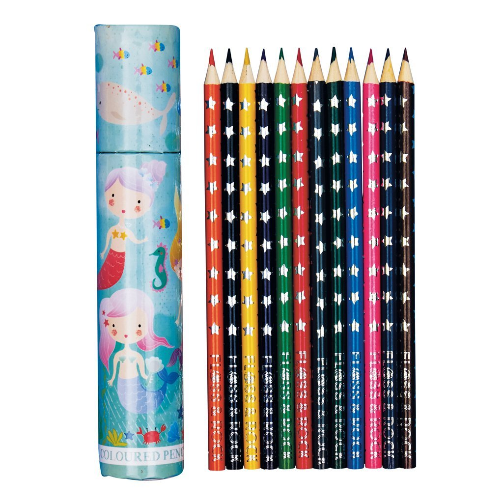 COLOURED PENCILS PACK 12 IN TUBE MERMAID