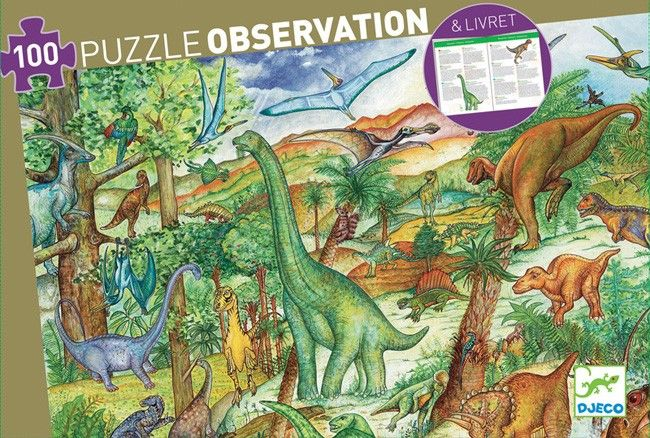 Observation Puzzle & Booklet - Dinosaurs 100 pieces