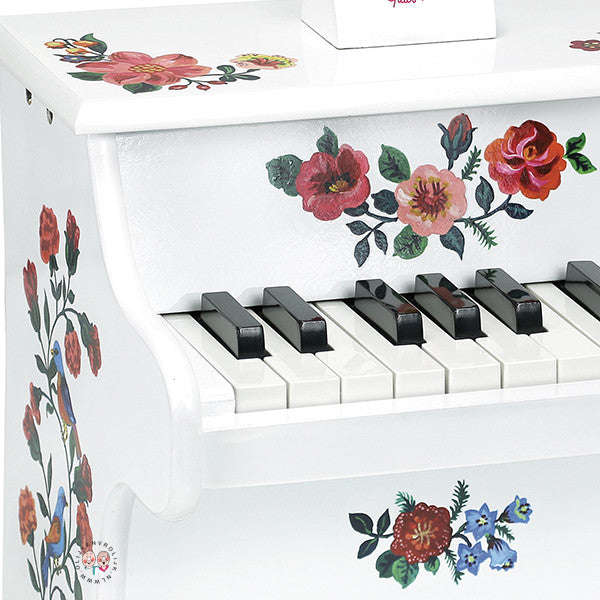 Vilac White Floral Piano with Scores - Nathaniel Lete design