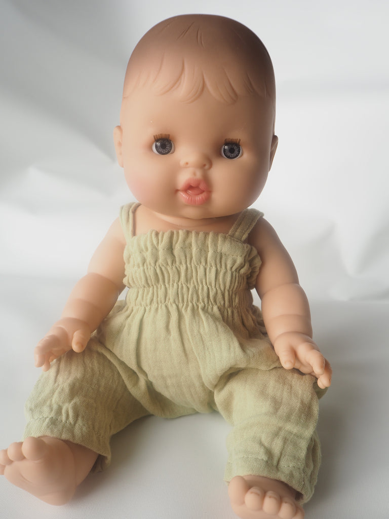 Alicia Baby Doll in Pistachio Jumpsuit