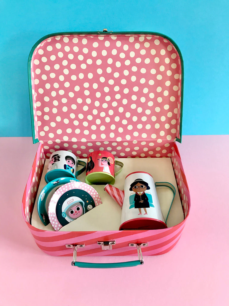 Feminist Tin Tea Set & Suitcase