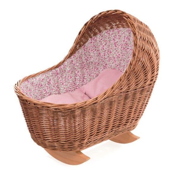 Wicker and Wooden Rocking Cradle