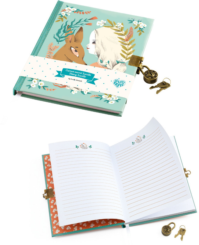 Djeco Lovely Paper Lucille Secret Notebook | Lockable Diary