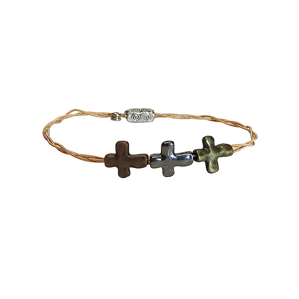 Women's Idle Strings Bronze Bracelet - Triple Cross