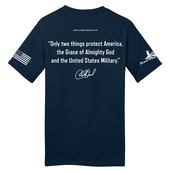 NEW! CDB NAVY Blue Betsy Ross Made in America Tee - Benefits The Journey Home Project