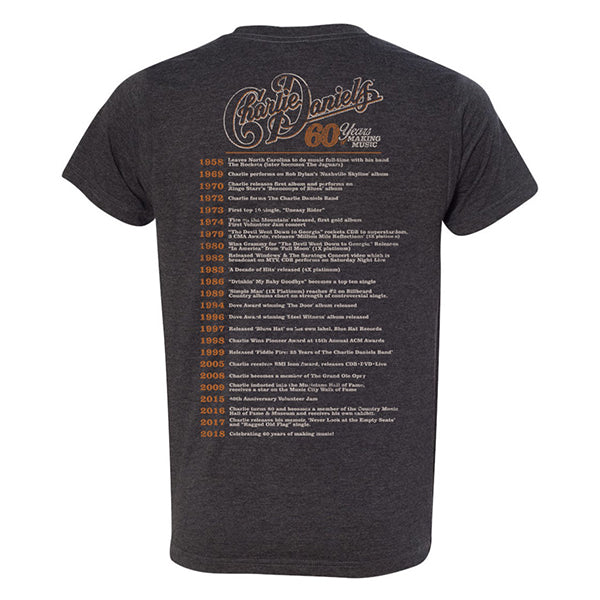 Charlie Daniels 60 Years of Making Music Charcoal Tee