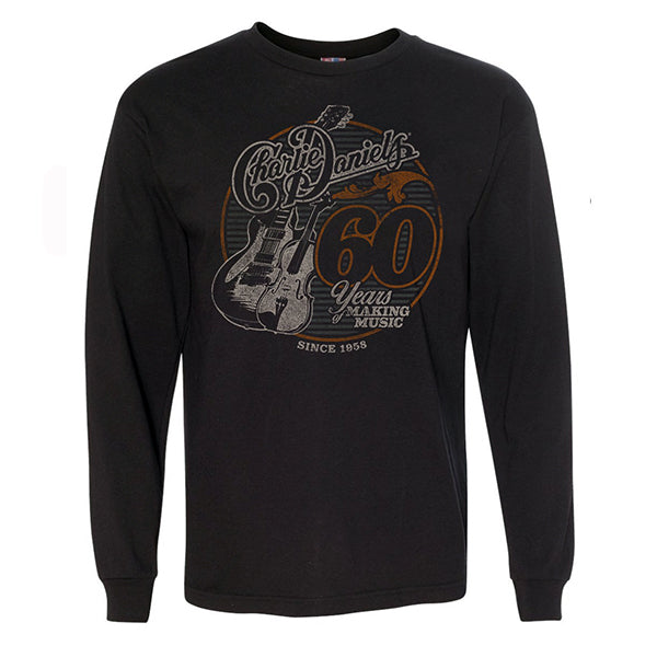 Charlie Daniels 60 Years of Making Music Black Long Sleeve Tee