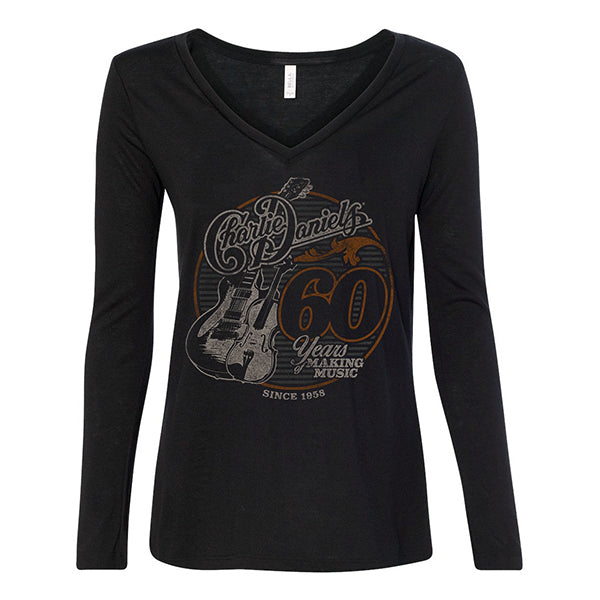 NEW! Women's CD 60 Years of Making Music Long Sleeve V-Neck Tee