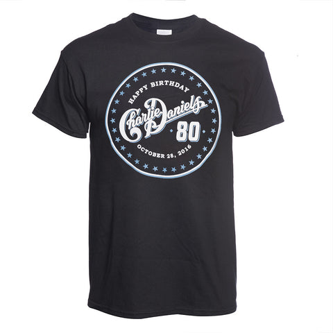 Charlie Daniels 80th Birthday Tee - Black/Blue