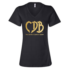 NEW! Women's CDB Logo Gold Foil V-Neck Tee