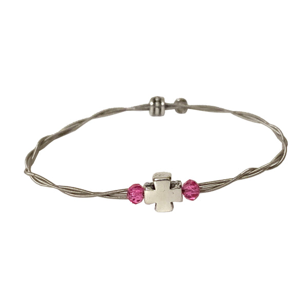 NEW! Women's Idle Strings Bracelet Silver Metallic Cross W/Pink Crystal Beads